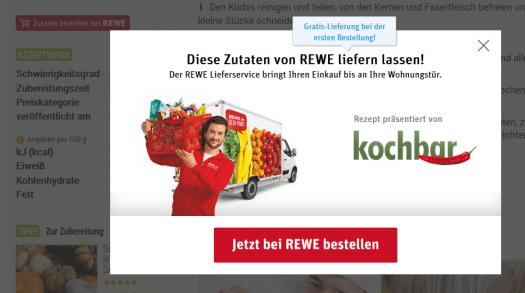 kochbar.de und REWE - Screenshot