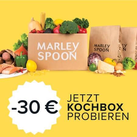Marley Spoon Kochbox im Bild mit Tüten und Zutaten