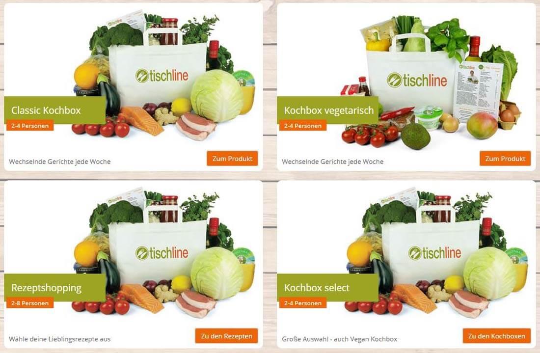 Die vier Kochboxen des Kochboxanbieters Tischline nebeneinander: klassisch, vegetarisch, select und Rezept.