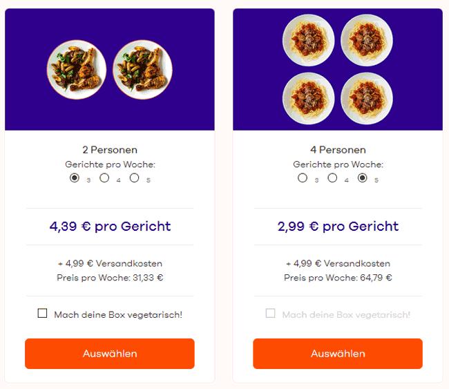 Auswahl der Kochbox-Abos bei Dinnerly nach Anzahl der Personen und Gerichte pro Woche
