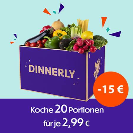 Im Bild ist eine Box von dinnerly dargestellt mit einer Preisinformation - Minus 15 Prozent