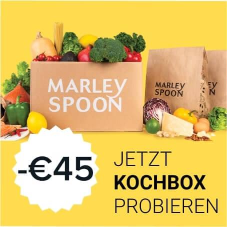 Kochbox von Marley Spoon im Angebot mit 45 Euro Rabatt Gutschein