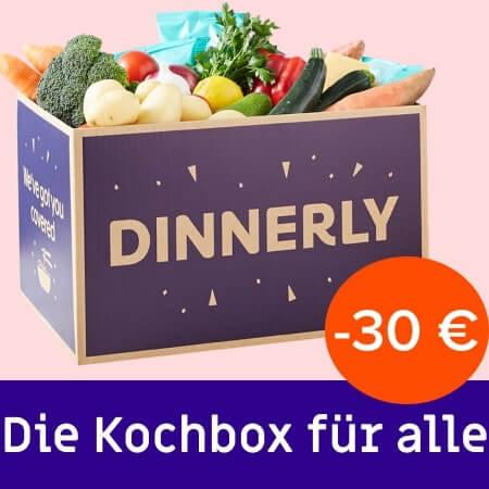 Im Bild eine Kochbox von Dinnerly mit einem Rabatt von 30 Euro