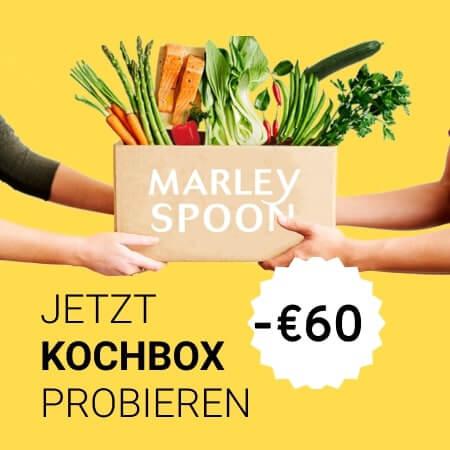 Im Bild eine Kochbox von Marley Spoon mit einem Rabatt von insgesamt 60 Euro
