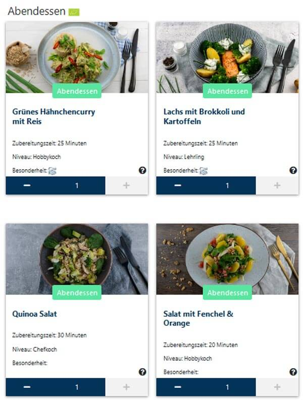 Fotos von vier Kochboxen und Gerichten des Kochbox-Anbieters Treat it